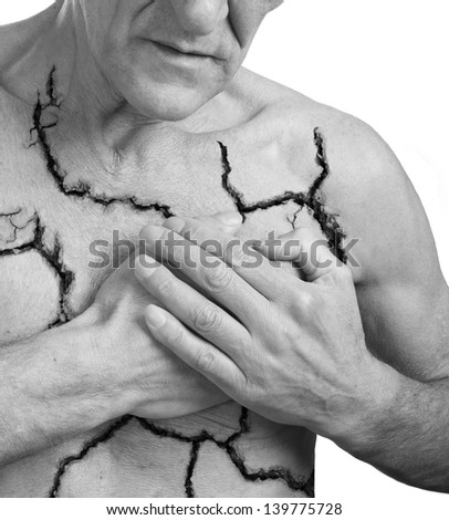 Broken heart.Pain concept.Isolated on white - stock photo