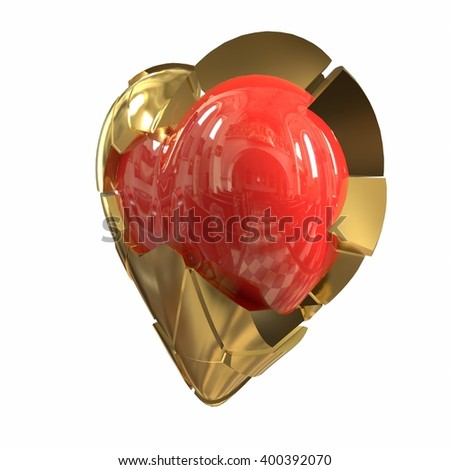 Broken heart, red, gold, steel, white background. 3d illustration - stock photo