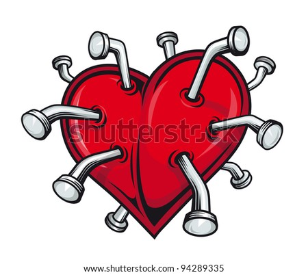 Broken heart with nails for tattoo or t-shirt design. Vector version also available in gallery - stock photo