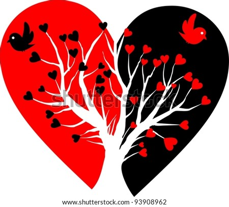 broken heart with white tree and two birds - stock photo