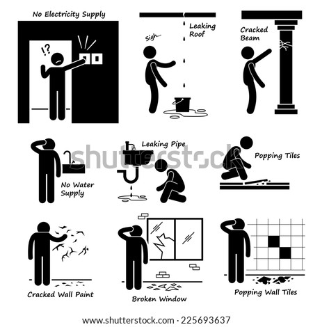 Broken House Old Building Problems Stick Figure Pictogram Icons