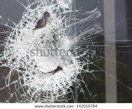 broken house window glass