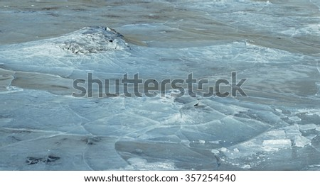 Broken ice surface in a frozen river. Image usable as background texture.
