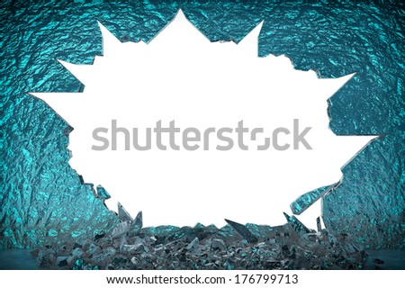 Broken Ice Wall on a white background