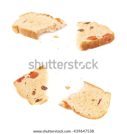 Broken into pieces rusk isolated over the white background - stock photo