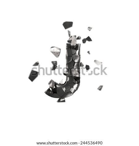 broken iron letter J - stock photo
