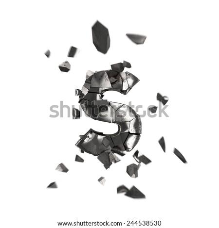 broken iron letter S - stock photo