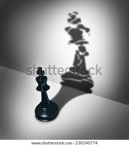 Broken leadership business crisis concept and weak leader metaphor as a three dimensional chess piece casting a shadow as a cracked icon as a symbol of  management failure. - stock photo