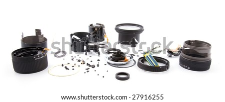 Broken lens repair - stock photo