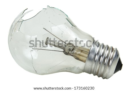Broken lightbulb isolated on white background - stock photo