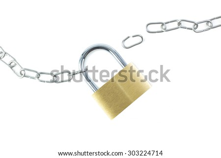 Broken metal chain and a locked padlock viewed from above, isolated on white background.