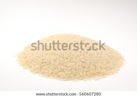 broken-milled rice  on white background.