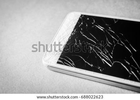 Broken Mobile Phone Black White Frame Stock Photo (Royalty Free ...