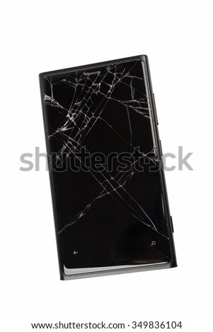 broken mobile phone isolated on white background