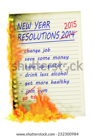 Broken New Year Resolutions. List burning. - stock photo