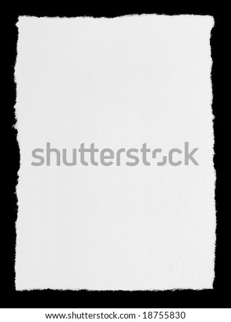 Broken paper page isolated on black background - stock photo