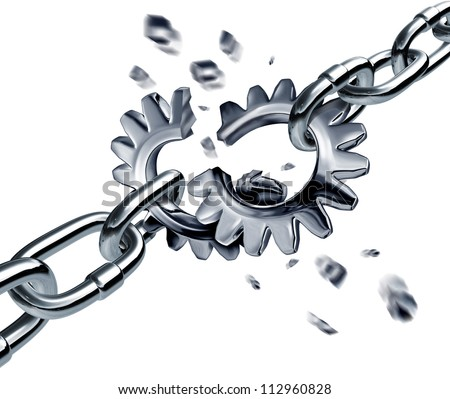 Broken partnership agreement chain breaking a financial deal or contract with metal connected links in the shape of gears or cogs as a disconnected business group pulling apart symbol - stock photo