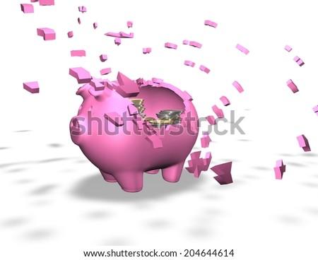broken piggy bank isolated illustration, spending money savings abstract 3d illustration render - stock photo
