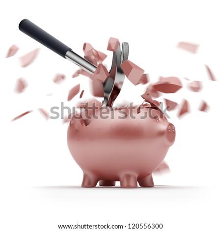 Broken Piggy Bank with hammer - stock photo