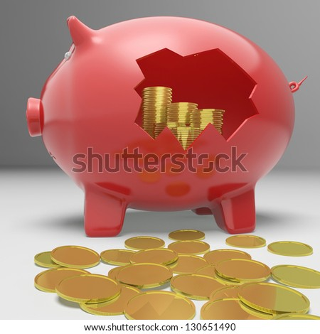 Broken Piggybank Showing Financial Savings And Earnings