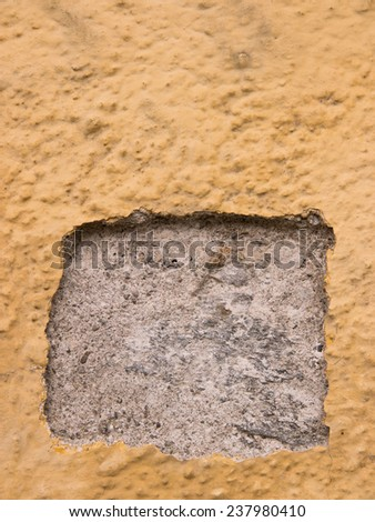 broken plaster wall - stock photo