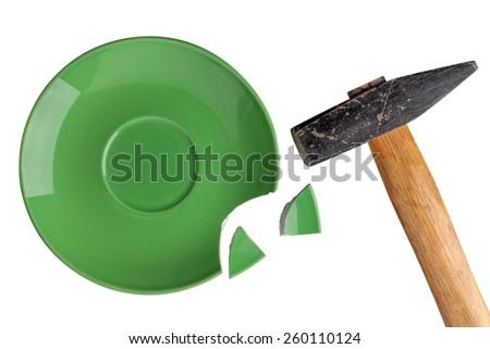 broken plate  hamme - stock photo