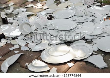 broken plates - stock photo