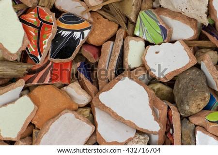 Broken Pottery - stock photo