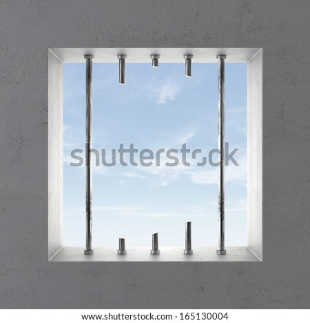 Broken prison window - stock photo
