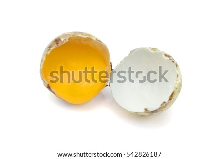 Broken Quail egg isolated on white background