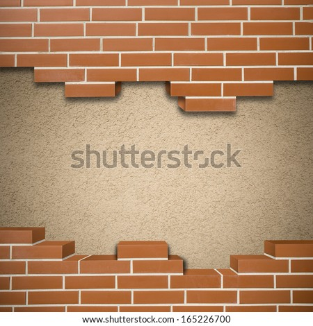 Broken red brickwall with pink mortar wall in the background - stock photo