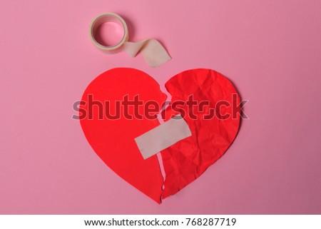 Broken Red Heart Taped Again White Stock Photo 768287719 Shutterstock