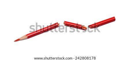 broken red pencil on a white background - stock photo