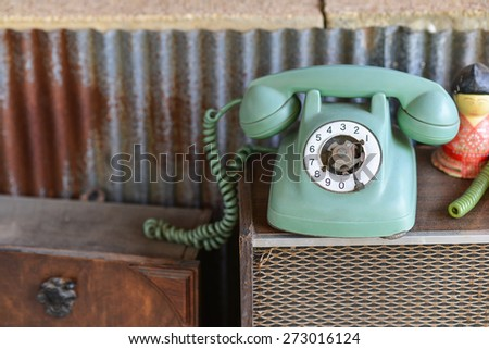 Broken retro phone - stock photo