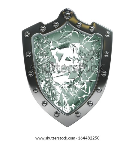 Broken security shield with crack  isolated on white background High resolution 3d  - stock photo