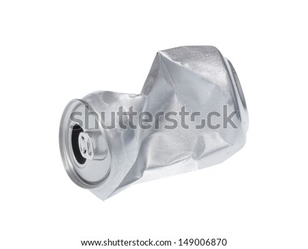 Broken soda can isolated on white background - stock photo