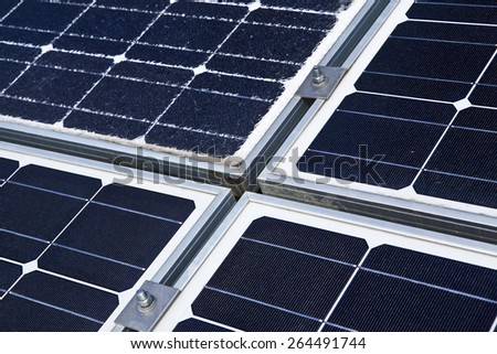 Broken solar panel - stock photo
