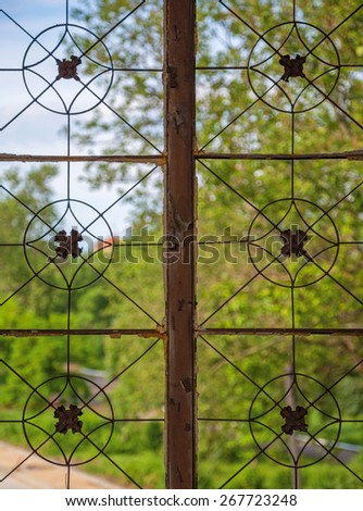 Broken stained glass window of an old synagogue. - stock photo