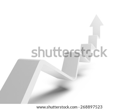 Broken trend line with arrow on end going up, 3d illustration isolated on white background