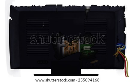 Broken TV set / monitor from the back isolated on white background. Digital background raster illustration. - stock photo