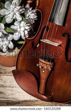 Broken violin on wooden floor