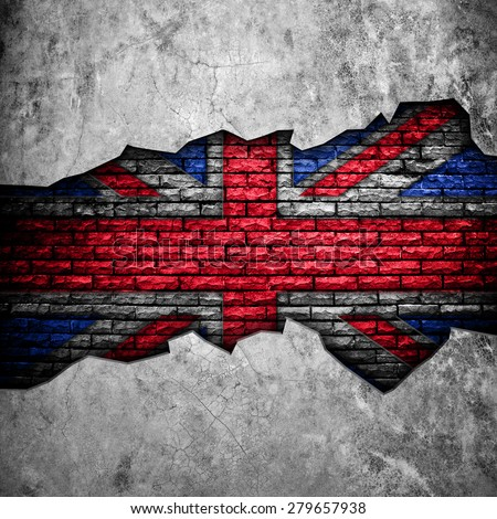 broken wall with england flag  - stock photo