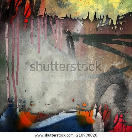 broken wall with graffiti  - stock photo