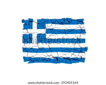 broken wall with greece flag - stock photo