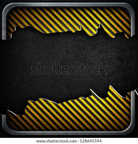 broken warning stripes plate - stock photo