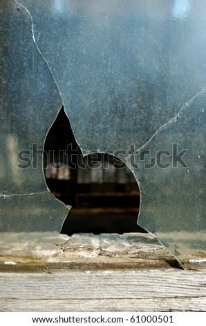 Broken window - stock photo