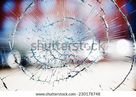 Broken window glass background - stock photo