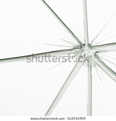 Broken window glass crack splitter on white gray background