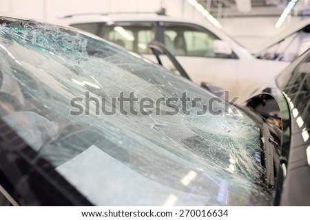Broken windshield  - stock photo
