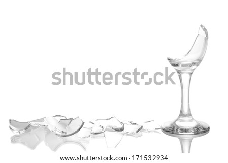 Broken wineglass isolated on white - stock photo